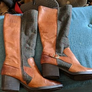 Beautiful Tweed and leather tall boots